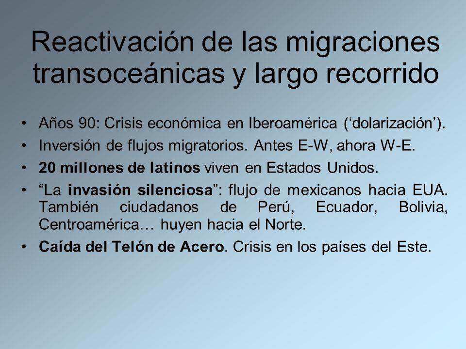 Reactivación de las migraciones transoceánicas y largo recorrido Años 90: Crisis económica en Iberoamérica (dolarización). Inversión de flujos migrato