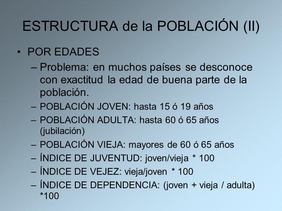 ESTRUCTURA de la POBLACIÓN (II) POR EDADES –Problema: en muchos países se desconoce con exactitud la edad de buena parte de la población. –POBLACIÓN J