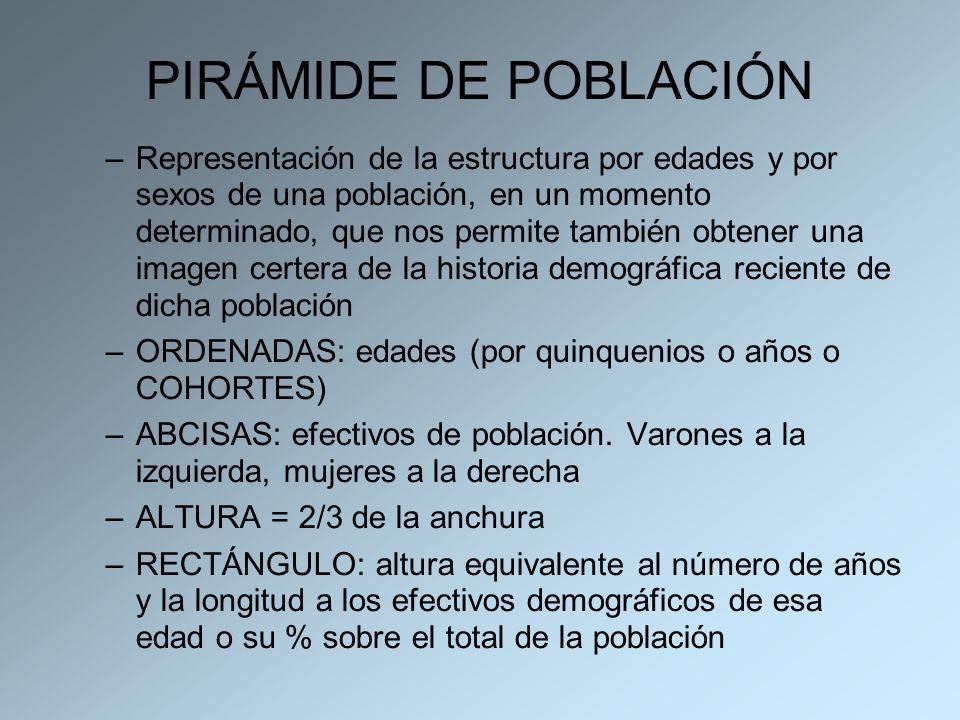 PIRÁMIDE DE POBLACIÓN –Representación de la estructura por edades y por sexos de una población, en un momento determinado, que nos permite también obt