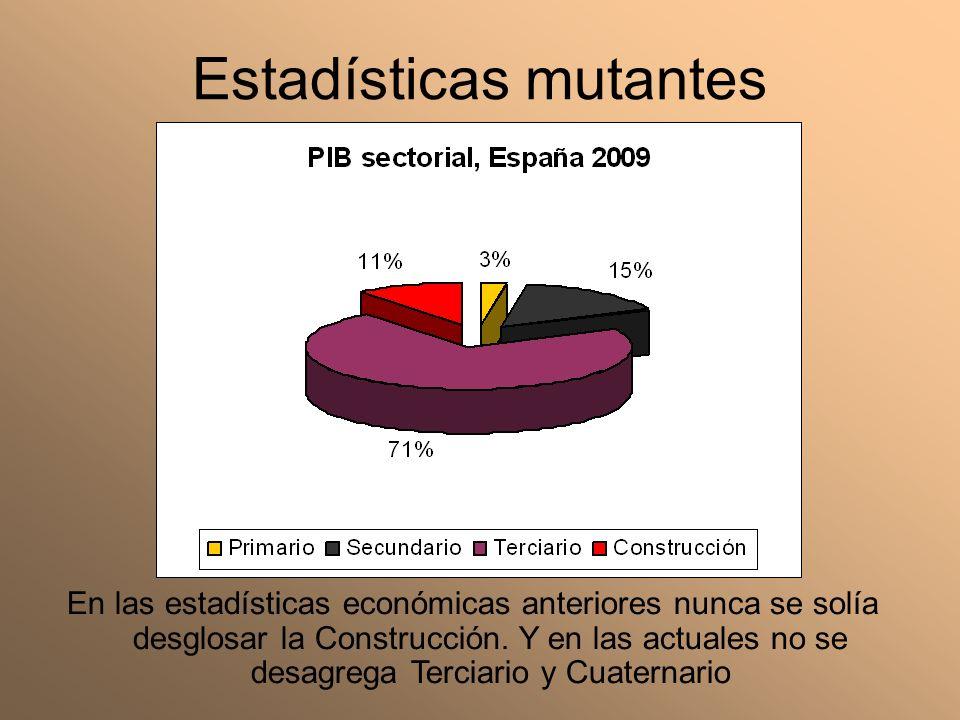 Estadísticas mutantes En las estadísticas económicas anteriores nunca se solía desglosar la Construcción. Y en las actuales no se desagrega Terciario