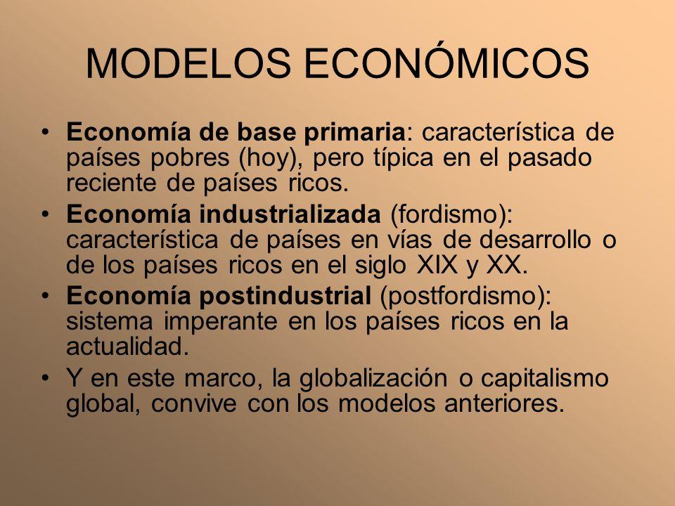 MODELOS ECONÓMICOS Economía de base primaria: característica de países pobres (hoy), pero típica en el pasado reciente de países ricos. Economía indus