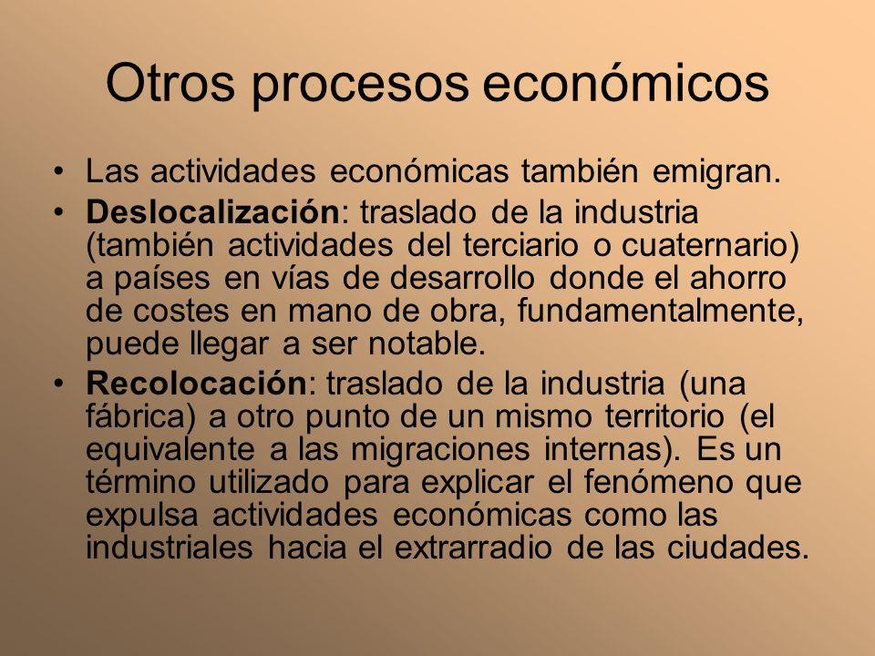 Otros procesos económicos Las actividades económicas también emigran. Deslocalización: traslado de la industria (también actividades del terciario o c