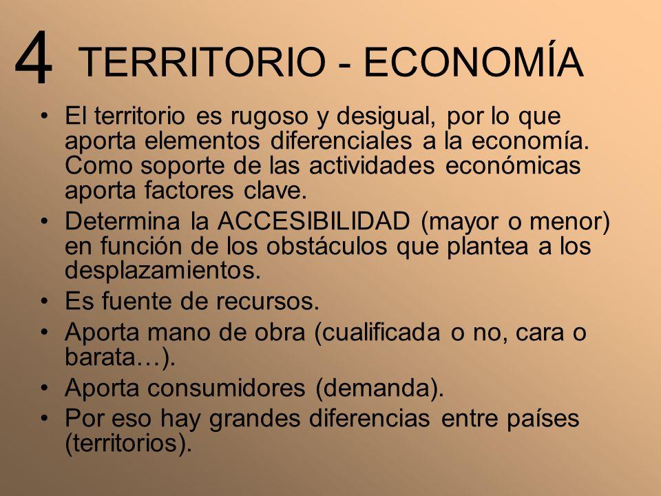 TERRITORIO - ECONOMÍA El territorio es rugoso y desigual, por lo que aporta elementos diferenciales a la economía. Como soporte de las actividades eco