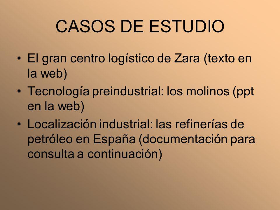 CASOS DE ESTUDIO El gran centro logístico de Zara (texto en la web) Tecnología preindustrial: los molinos (ppt en la web) Localización industrial: las