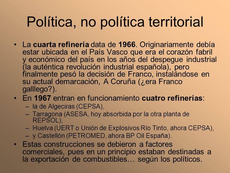 Política, no política territorial La cuarta refinería data de 1966. Originariamente debía estar ubicada en el País Vasco que era el corazón fabril y e