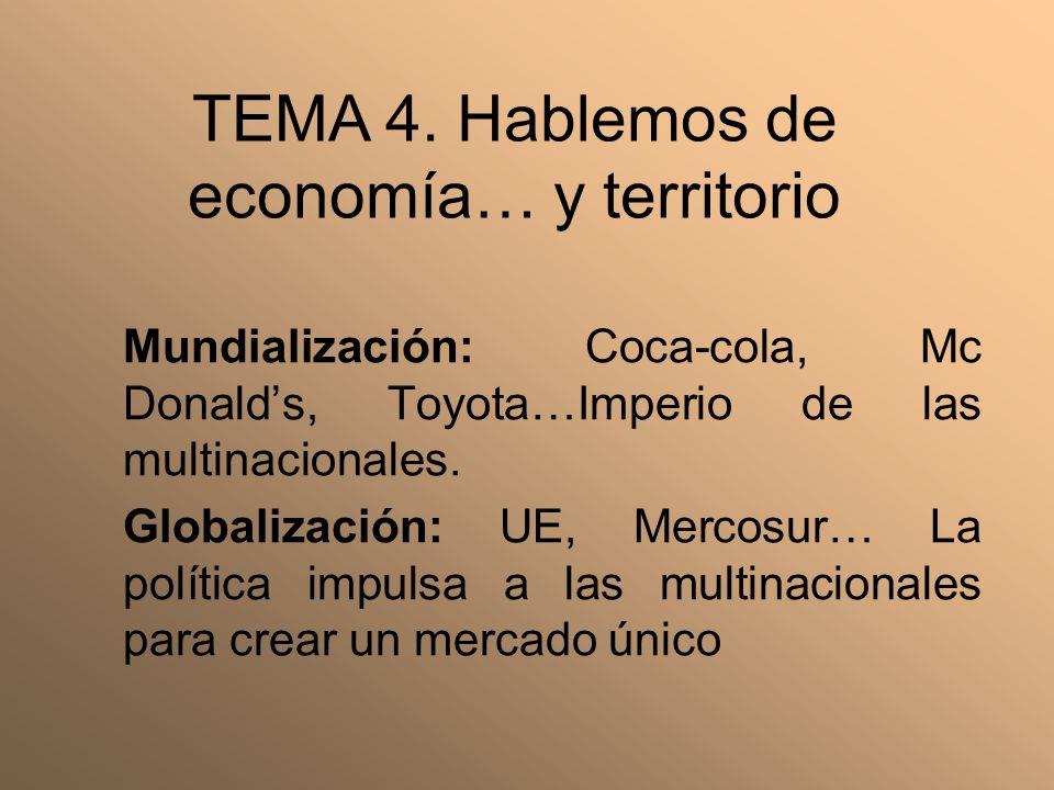 Mundialización: Coca-cola, Mc Donalds, Toyota…Imperio de las multinacionales. Globalización: UE, Mercosur… La política impulsa a las multinacionales p