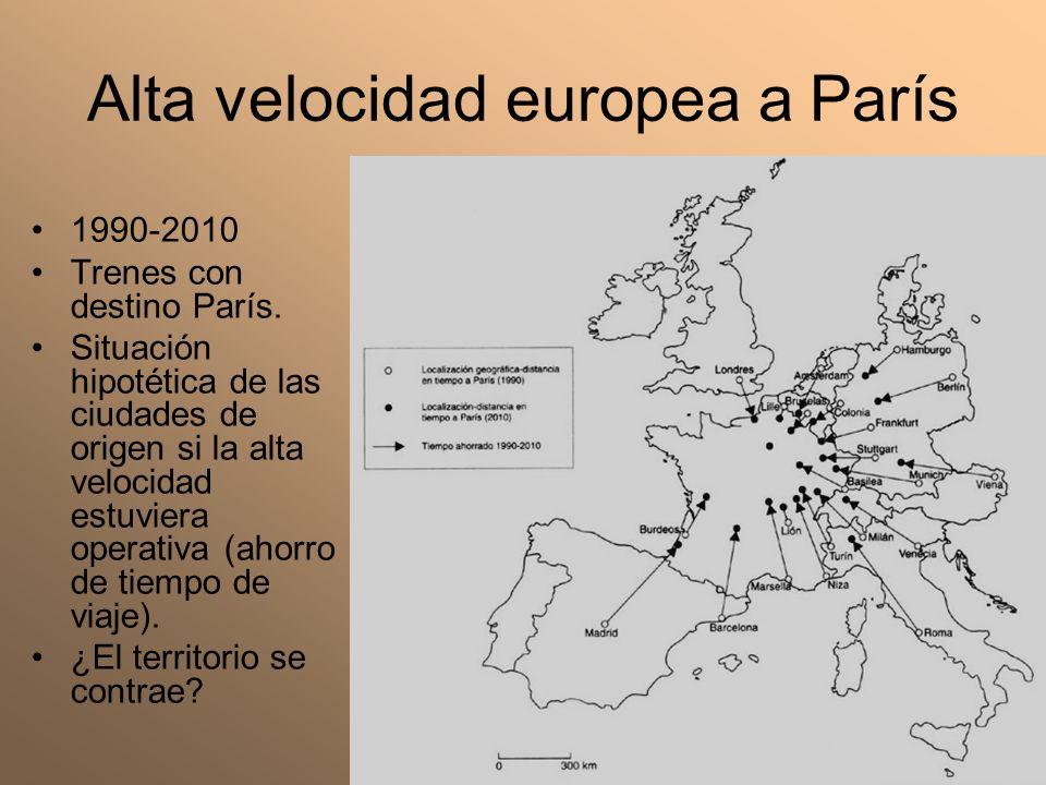 Alta velocidad europea a París 1990-2010 Trenes con destino París. Situación hipotética de las ciudades de origen si la alta velocidad estuviera opera