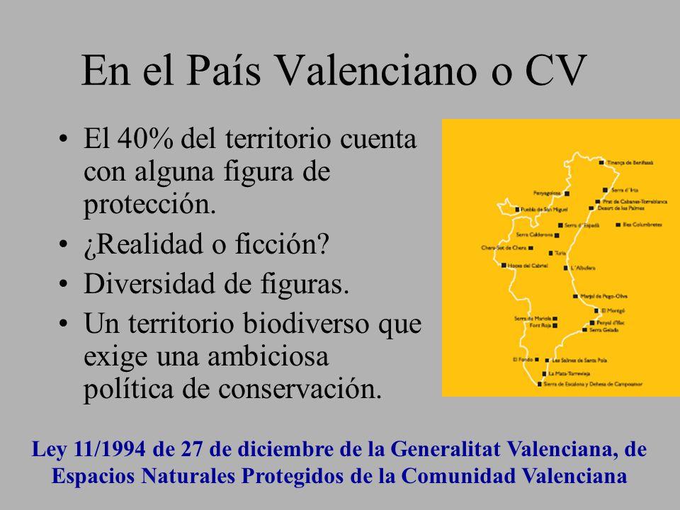 En el País Valenciano o CV El 40% del territorio cuenta con alguna figura de protección. ¿Realidad o ficción? Diversidad de figuras. Un territorio bio