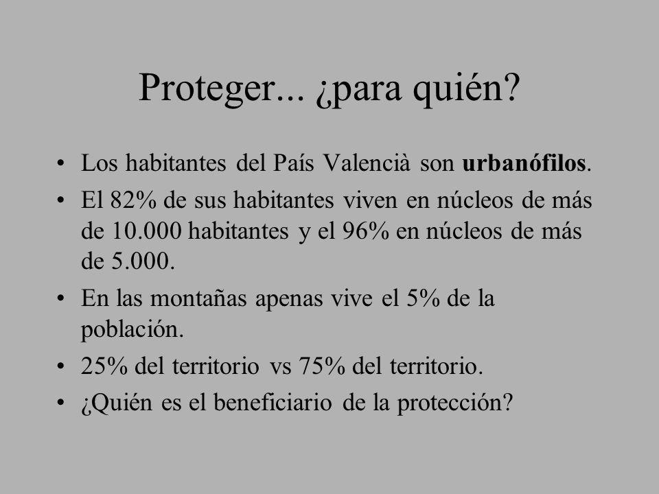 Proteger... ¿para quién? Los habitantes del País Valencià son urbanófilos. El 82% de sus habitantes viven en núcleos de más de 10.000 habitantes y el