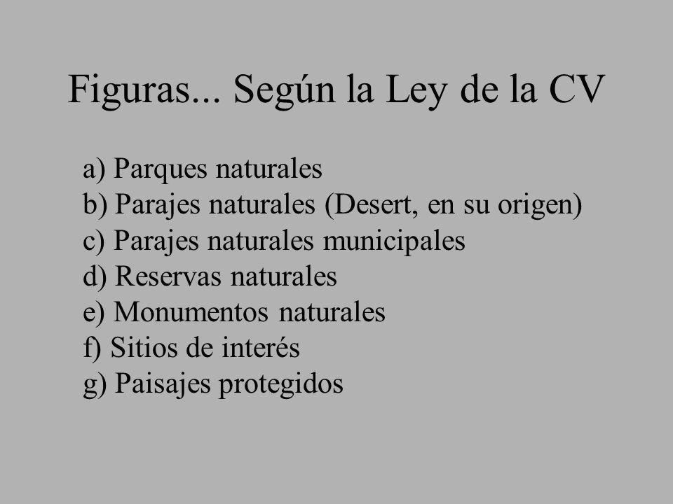 Figuras... Según la Ley de la CV a) Parques naturales b) Parajes naturales (Desert, en su origen) c) Parajes naturales municipales d) Reservas natural