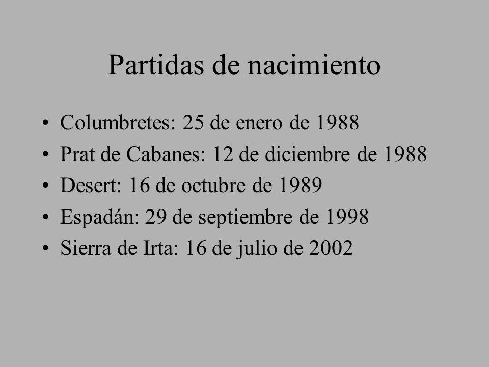 Partidas de nacimiento Columbretes: 25 de enero de 1988 Prat de Cabanes: 12 de diciembre de 1988 Desert: 16 de octubre de 1989 Espadán: 29 de septiemb