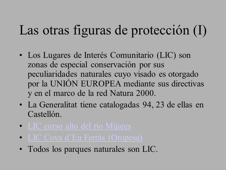 Las otras figuras de protección (I) Los Lugares de Interés Comunitario (LIC) son zonas de especial conservación por sus peculiaridades naturales cuyo