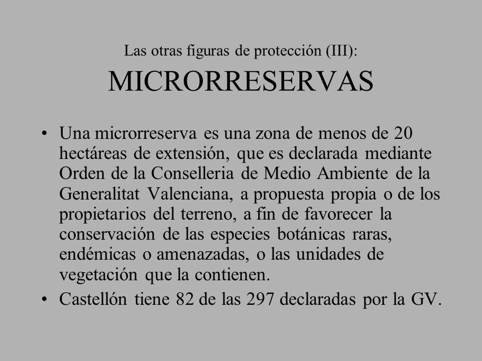 Las otras figuras de protección (III): MICRORRESERVAS Una microrreserva es una zona de menos de 20 hectáreas de extensión, que es declarada mediante O