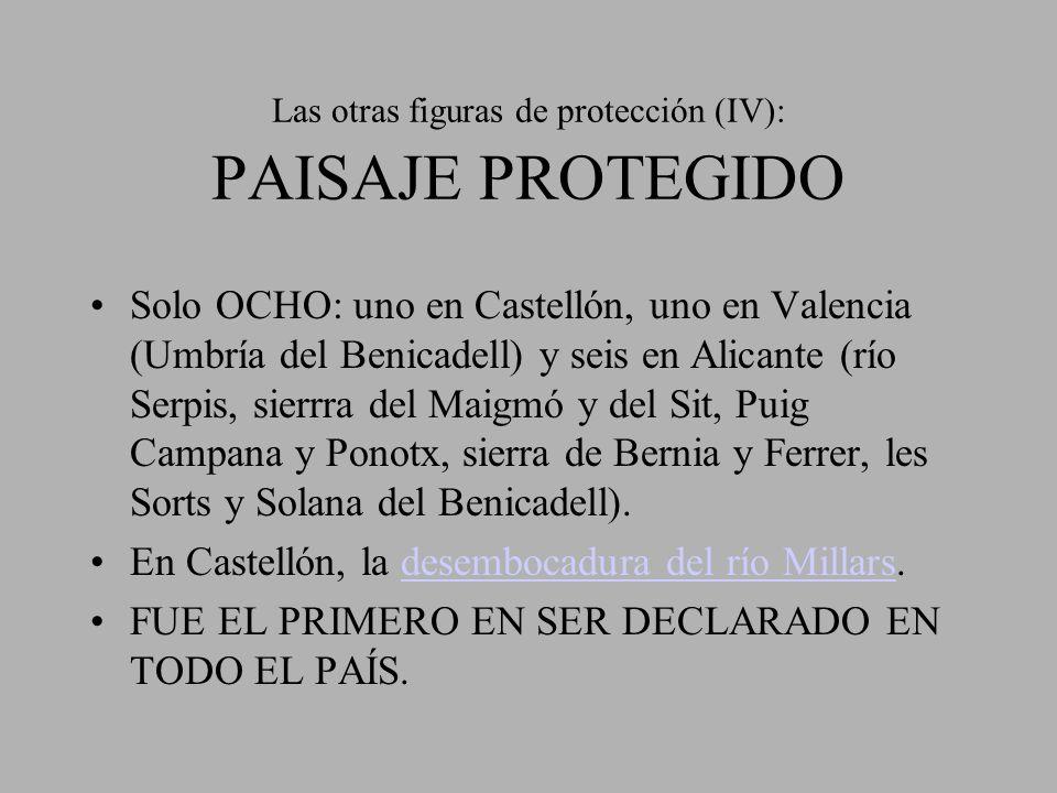 Las otras figuras de protección (IV): PAISAJE PROTEGIDO Solo OCHO: uno en Castellón, uno en Valencia (Umbría del Benicadell) y seis en Alicante (río S