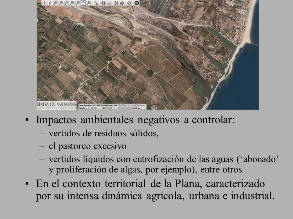 Impactos ambientales negativos a controlar: –vertidos de residuos sólidos, –el pastoreo excesivo –vertidos líquidos con eutrofización de las aguas (ab