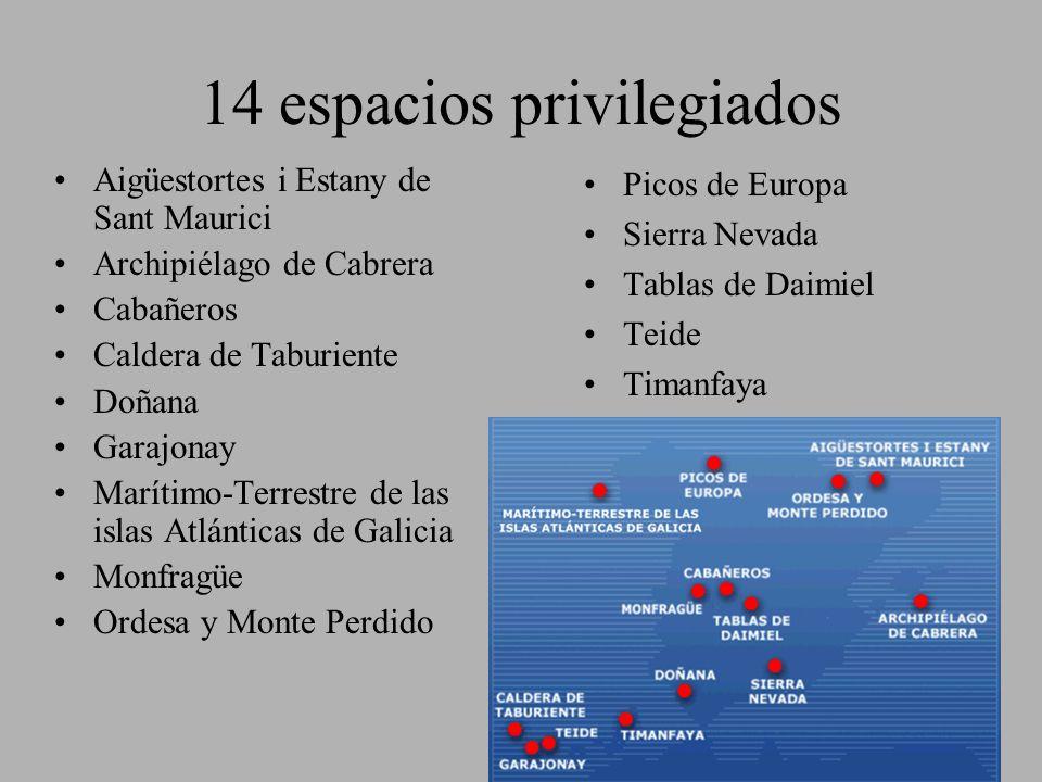 14 espacios privilegiados Aigüestortes i Estany de Sant Maurici Archipiélago de Cabrera Cabañeros Caldera de Taburiente Doñana Garajonay Marítimo-Terr