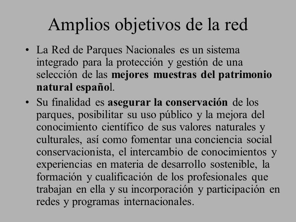 Amplios objetivos de la red La Red de Parques Nacionales es un sistema integrado para la protección y gestión de una selección de las mejores muestras