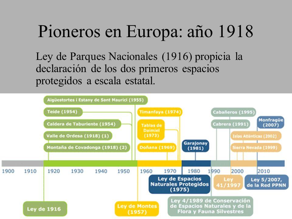 Pioneros en Europa: año 1918 Ley de Parques Nacionales (1916) propicia la declaración de los dos primeros espacios protegidos a escala estatal.