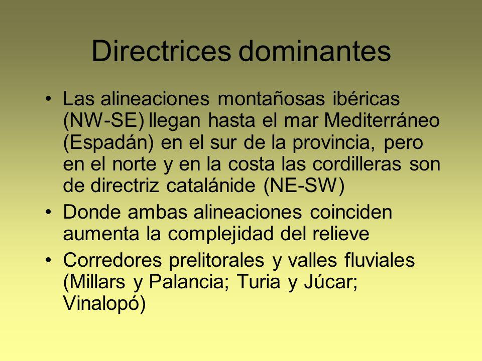 Directrices dominantes Las alineaciones montañosas ibéricas (NW-SE) llegan hasta el mar Mediterráneo (Espadán) en el sur de la provincia, pero en el n