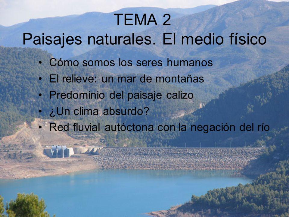 TEMA 2 Paisajes naturales. El medio físico Cómo somos los seres humanos El relieve: un mar de montañas Predominio del paisaje calizo ¿Un clima absurdo
