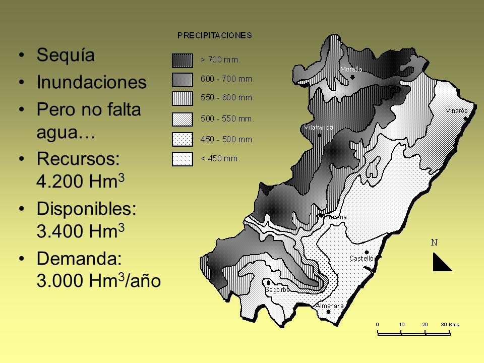 Sequía Inundaciones Pero no falta agua… Recursos: 4.200 Hm 3 Disponibles: 3.400 Hm 3 Demanda: 3.000 Hm 3 /año
