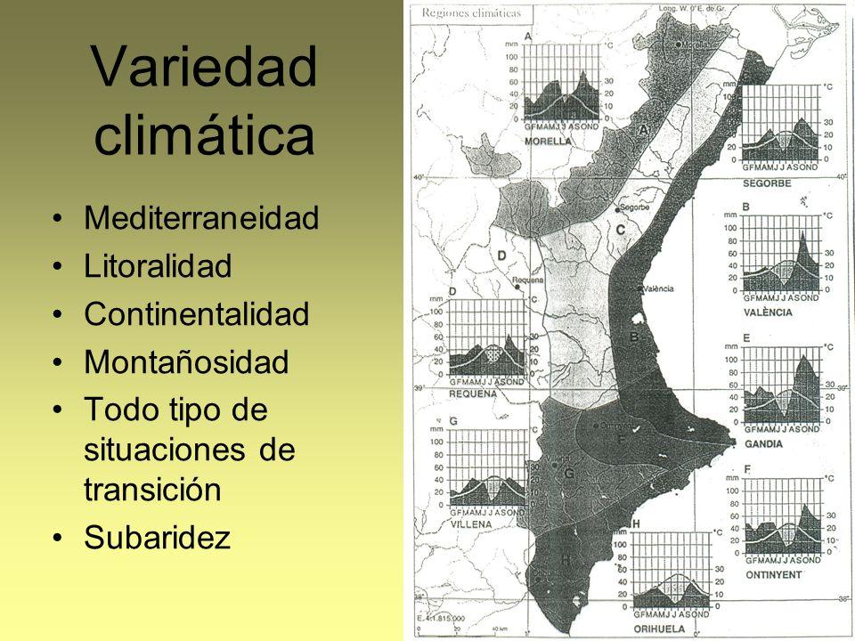 Variedad climática Mediterraneidad Litoralidad Continentalidad Montañosidad Todo tipo de situaciones de transición Subaridez