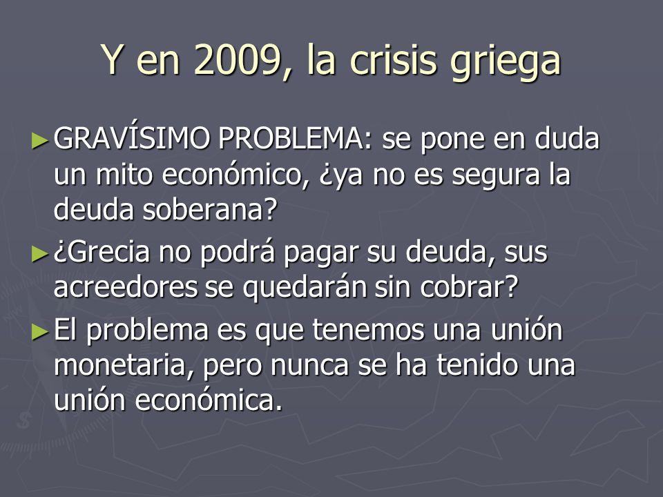 Y en 2009, la crisis griega GRAVÍSIMO PROBLEMA: se pone en duda un mito económico, ¿ya no es segura la deuda soberana? GRAVÍSIMO PROBLEMA: se pone en