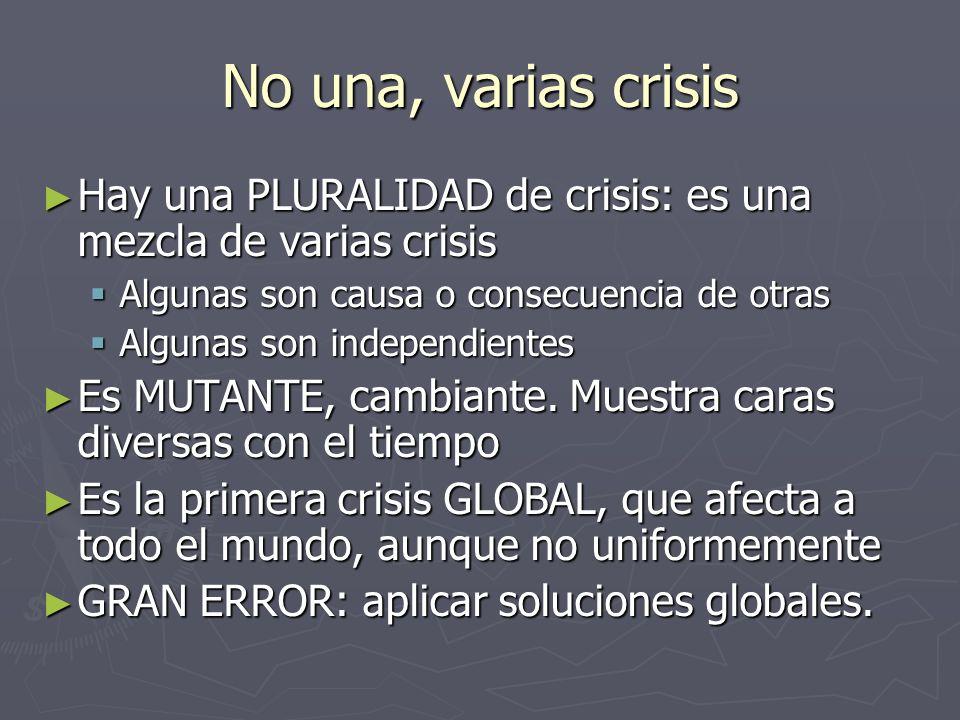No una, varias crisis Hay una PLURALIDAD de crisis: es una mezcla de varias crisis Hay una PLURALIDAD de crisis: es una mezcla de varias crisis Alguna