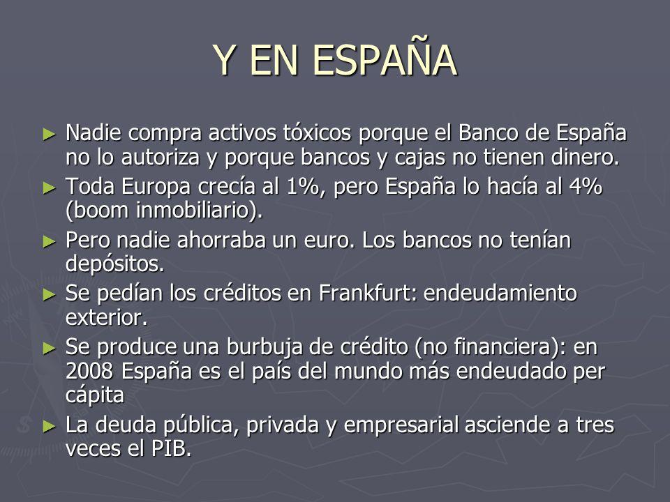 Y EN ESPAÑA Nadie compra activos tóxicos porque el Banco de España no lo autoriza y porque bancos y cajas no tienen dinero. Nadie compra activos tóxic