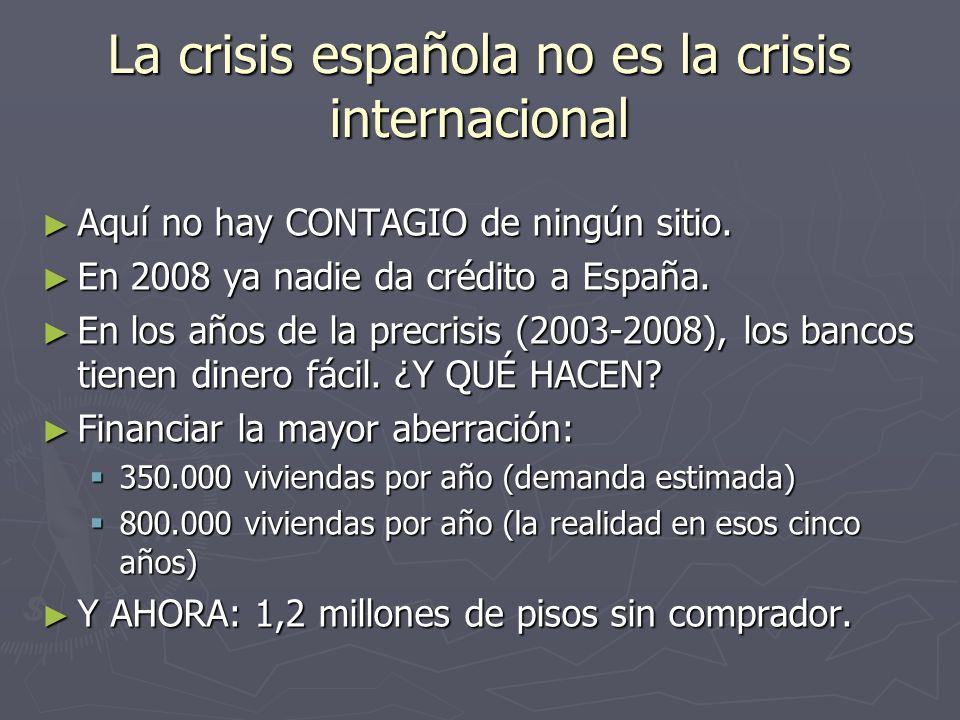 La crisis española no es la crisis internacional Aquí no hay CONTAGIO de ningún sitio. Aquí no hay CONTAGIO de ningún sitio. En 2008 ya nadie da crédi