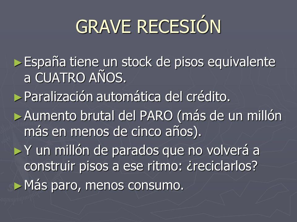 GRAVE RECESIÓN España tiene un stock de pisos equivalente a CUATRO AÑOS. España tiene un stock de pisos equivalente a CUATRO AÑOS. Paralización automá