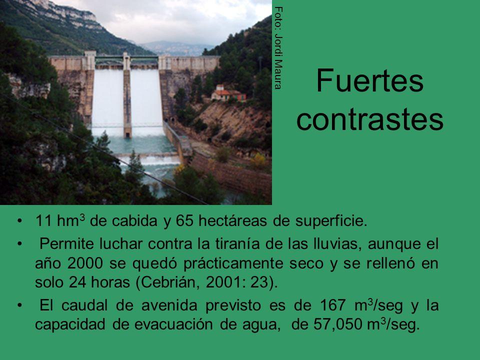 Fuertes contrastes 11 hm 3 de cabida y 65 hectáreas de superficie. Permite luchar contra la tiranía de las lluvias, aunque el año 2000 se quedó prácti