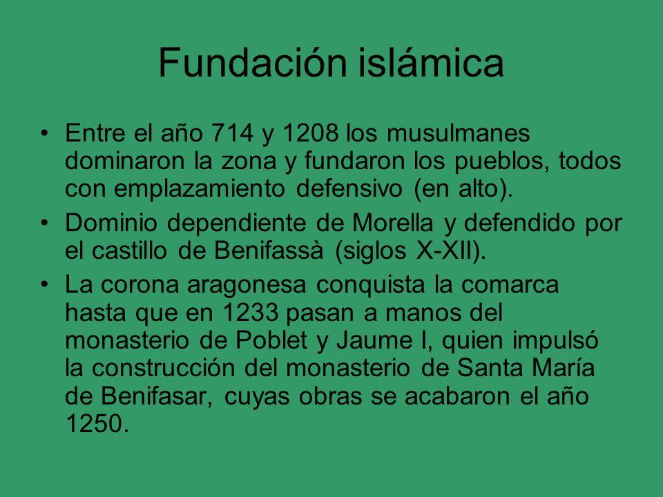 Fundación islámica Entre el año 714 y 1208 los musulmanes dominaron la zona y fundaron los pueblos, todos con emplazamiento defensivo (en alto). Domin