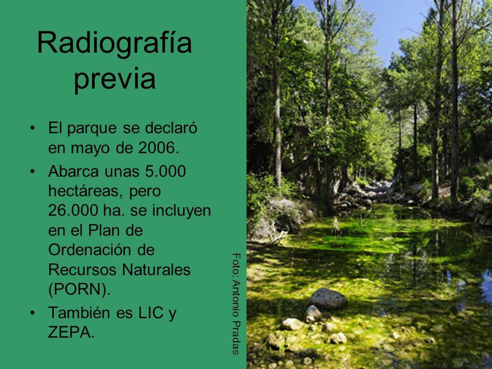 Radiografía previa El parque se declaró en mayo de 2006. Abarca unas 5.000 hectáreas, pero 26.000 ha. se incluyen en el Plan de Ordenación de Recursos