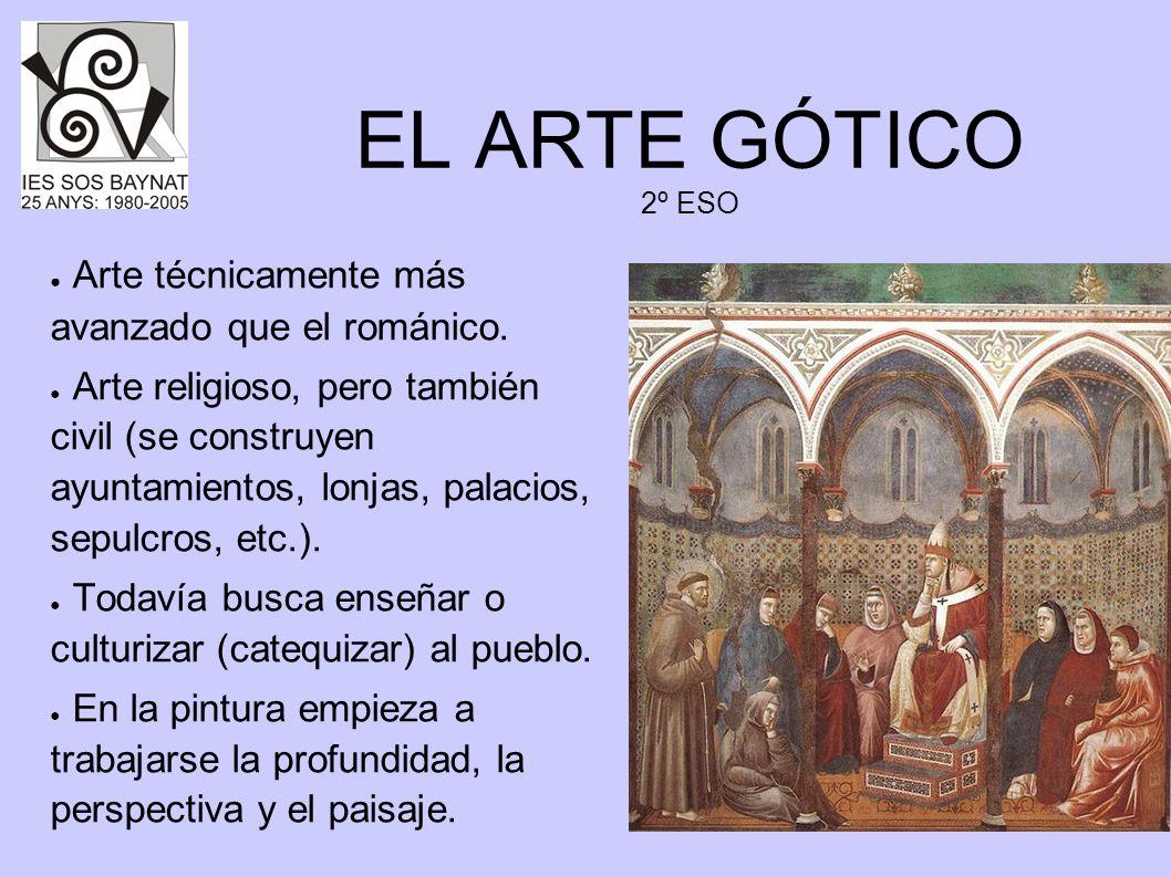 EL ARTE GÓTICO 2º ESO Arte técnicamente más avanzado que el románico. Arte religioso, pero también civil (se construyen ayuntamientos, lonjas, palacio