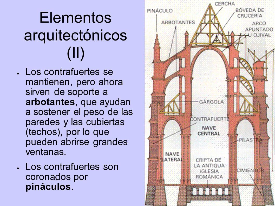 Elementos arquitectónicos (II) Los contrafuertes se mantienen, pero ahora sirven de soporte a arbotantes, que ayudan a sostener el peso de las paredes