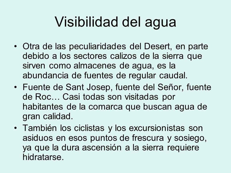 Visibilidad del agua Otra de las peculiaridades del Desert, en parte debido a los sectores calizos de la sierra que sirven como almacenes de agua, es