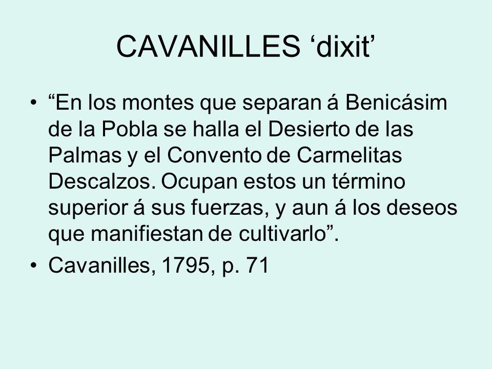 CAVANILLES dixit En los montes que separan á Benicásim de la Pobla se halla el Desierto de las Palmas y el Convento de Carmelitas Descalzos. Ocupan es