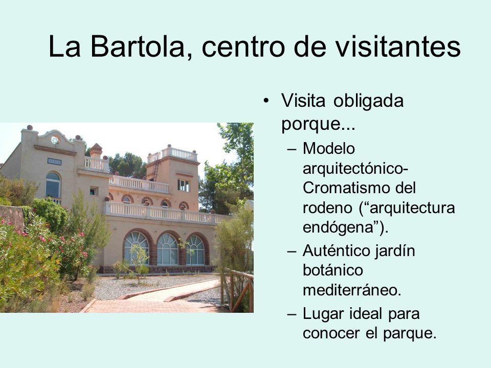 La Bartola, centro de visitantes Visita obligada porque... –Modelo arquitectónico- Cromatismo del rodeno (arquitectura endógena). –Auténtico jardín bo