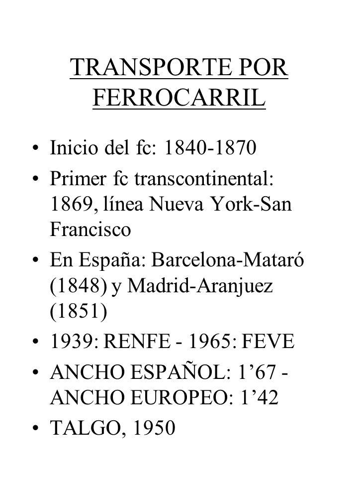 TRANSPORTE POR FERROCARRIL Inicio del fc: 1840-1870 Primer fc transcontinental: 1869, línea Nueva York-San Francisco En España: Barcelona-Mataró (1848