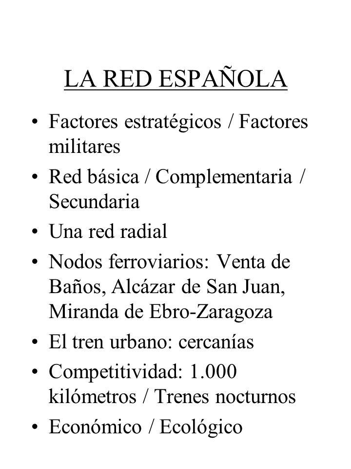 LA RED ESPAÑOLA Factores estratégicos / Factores militares Red básica / Complementaria / Secundaria Una red radial Nodos ferroviarios: Venta de Baños,