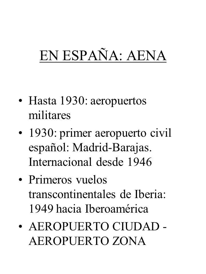 EN ESPAÑA: AENA Hasta 1930: aeropuertos militares 1930: primer aeropuerto civil español: Madrid-Barajas. Internacional desde 1946 Primeros vuelos tran