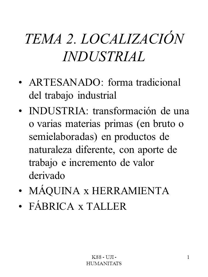 K88 - UJI - HUMANITATS 1 TEMA 2. LOCALIZACIÓN INDUSTRIAL ARTESANADO: forma tradicional del trabajo industrial INDUSTRIA: transformación de una o varia
