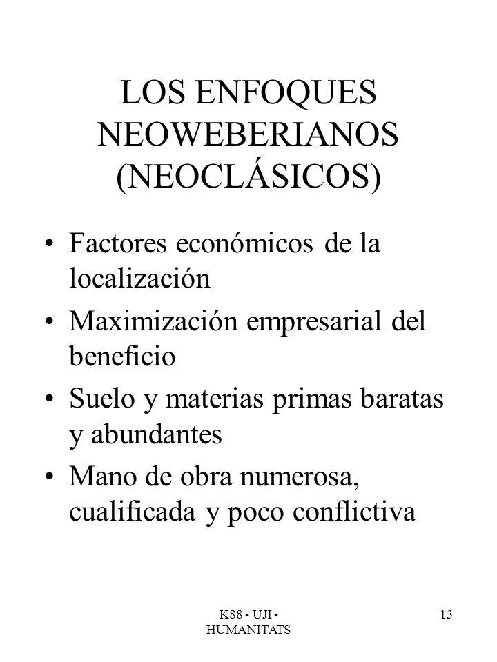 K88 - UJI - HUMANITATS 13 LOS ENFOQUES NEOWEBERIANOS (NEOCLÁSICOS) Factores económicos de la localización Maximización empresarial del beneficio Suelo