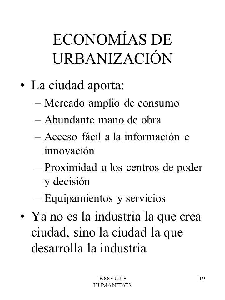K88 - UJI - HUMANITATS 19 ECONOMÍAS DE URBANIZACIÓN La ciudad aporta: –Mercado amplio de consumo –Abundante mano de obra –Acceso fácil a la informació