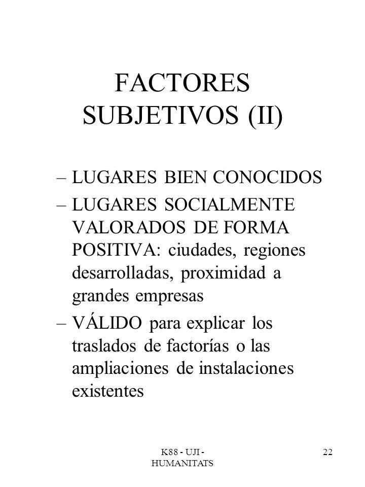 K88 - UJI - HUMANITATS 22 FACTORES SUBJETIVOS (II) –LUGARES BIEN CONOCIDOS –LUGARES SOCIALMENTE VALORADOS DE FORMA POSITIVA: ciudades, regiones desarr