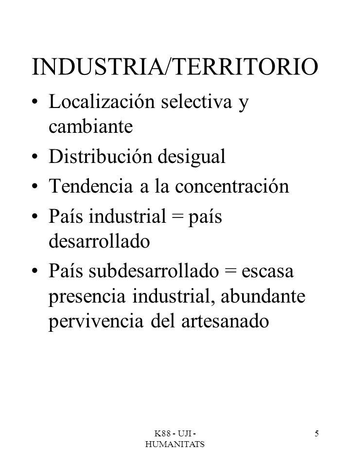 K88 - UJI - HUMANITATS 5 INDUSTRIA/TERRITORIO Localización selectiva y cambiante Distribución desigual Tendencia a la concentración País industrial =
