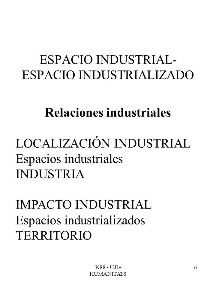 K88 - UJI - HUMANITATS 6 ESPACIO INDUSTRIAL- ESPACIO INDUSTRIALIZADO Relaciones industriales LOCALIZACIÓN INDUSTRIAL Espacios industriales INDUSTRIA I