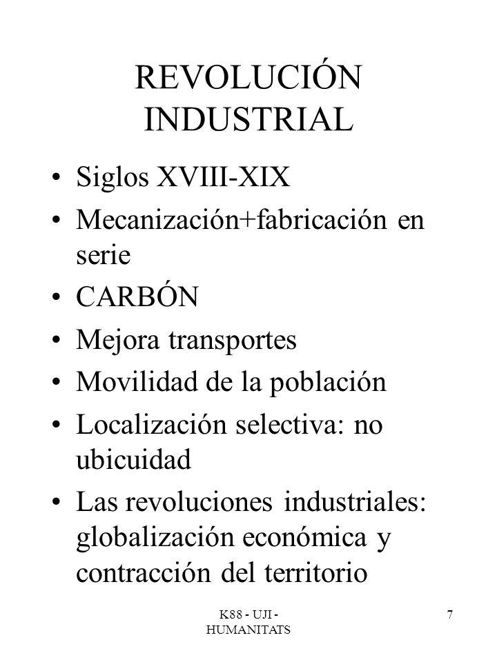 K88 - UJI - HUMANITATS 7 REVOLUCIÓN INDUSTRIAL Siglos XVIII-XIX Mecanización+fabricación en serie CARBÓN Mejora transportes Movilidad de la población