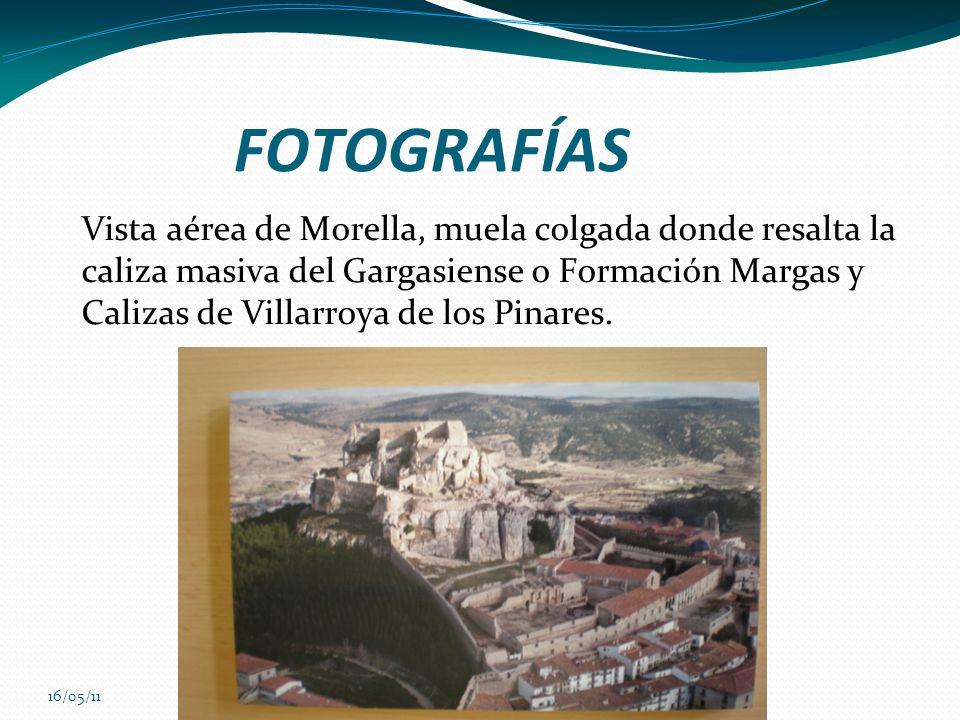 16/05/11 FOTOGRAFÍAS Vista aérea de Morella, muela colgada donde resalta la caliza masiva del Gargasiense o Formación Margas y Calizas de Villarroya d